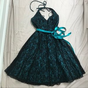 Rampage Teal Lace Overlay Homecoming Dress EUC
